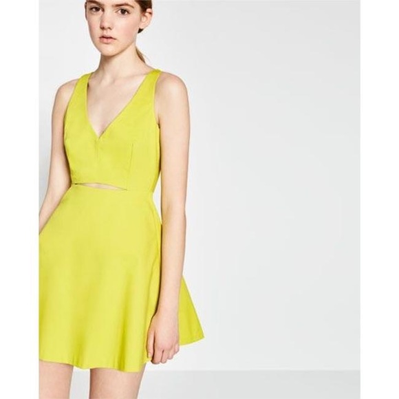 Zara Dresses & Skirts - Zara Neon Chartreuse Cut-Out Tailored Aline Dress